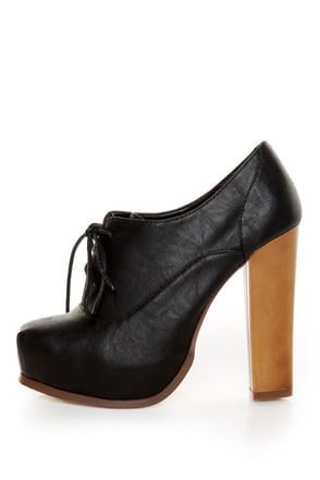 Bonnibel Elodie Black Lace-Up Oxford Heels
