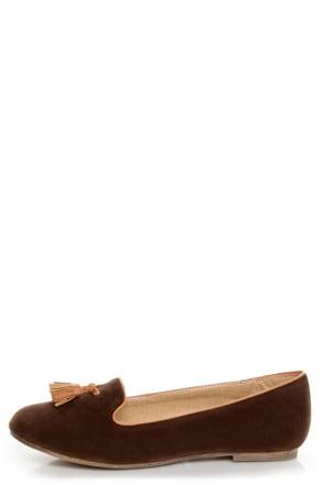 Bamboo Donovan 01 Brown & Tan Tassel Smoking Slipper Flats