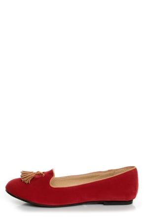 Bamboo Donovan 01 Red & Tan Tassel Smoking Slipper Flats
