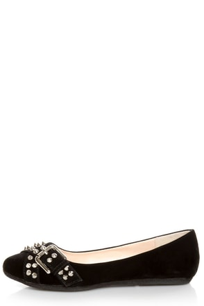 Bamboo Jayden 01 Black Belted and Studded Pointed Flats