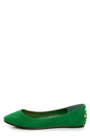 Bamboo Jump 32 Green Heel-Studded Pointed Flats