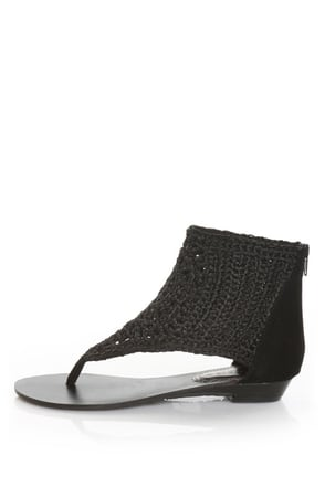 Bamboo Sprout 83 Black Crocheted Up-the-Ankle Thong Sandals
