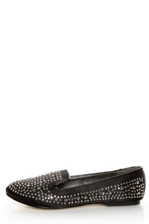 Jules Black Rhinestone Encrusted Smoking Slipper Flats
