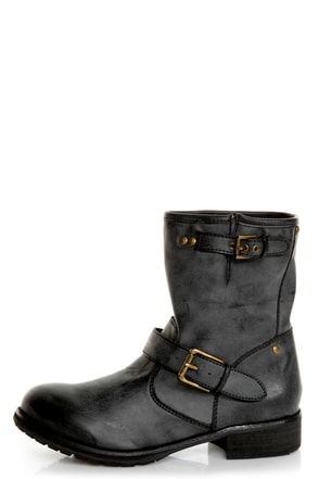 Chelsea Crew Galant Black Slouchy Belted Ankle Boots