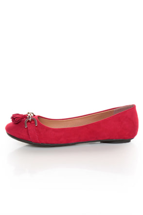 City Classified Hi Lipstick Red Tassel Ballet Flats