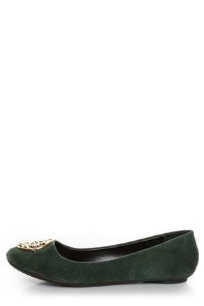 City Classified Quant Green Medallion Ballet Flats