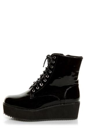 C Label Nata 1 Black Patent Platform Combat Boots