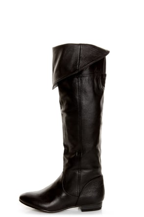 Chinese Laundry South Bay Black Leather Over-The-Knee Boots