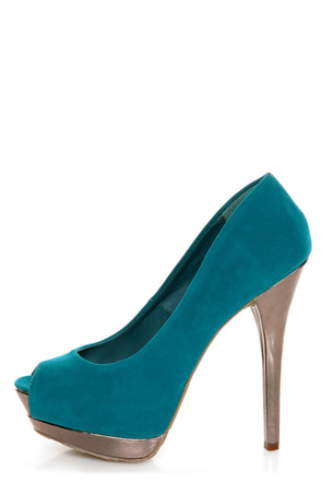 Dollhouse Devoted Teal and Metallic Peep Toe Pumps