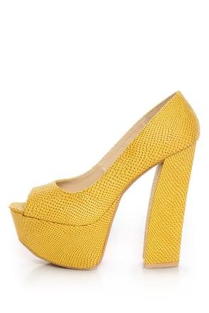 Fahrenheit Anne 24 Yellow Snakeskin Peep Toe Platform Heels
