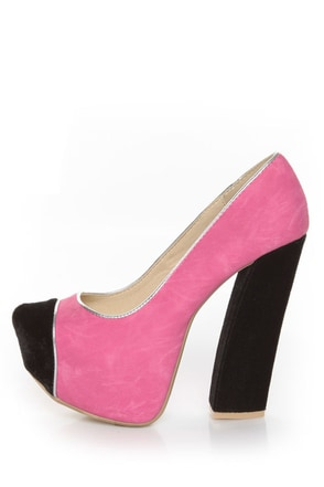 Fahrenheit Anne 41 Fuchsia and Black Cap-Toe Platform Heels
