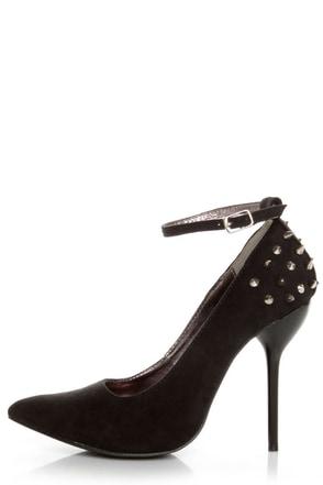 Fahrenheit Zara 06 Black Studded Pointed Pumps