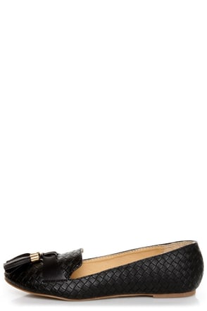 Messina 12 Black Textured Tassel Smoking Slipper Flats