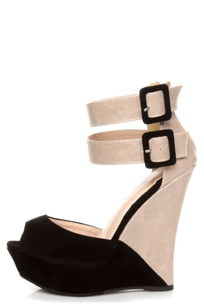 Monaco Black and Beige Belted Color Block Wedges