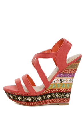 My Delicious Bruno Dark Salmon Floral Striped Platform Wedges