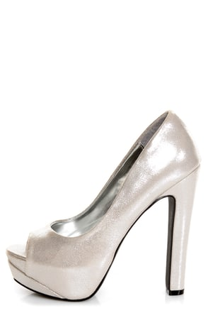 My Delicious Rainer Silver Shimmer Peep Toe Platform Pumps