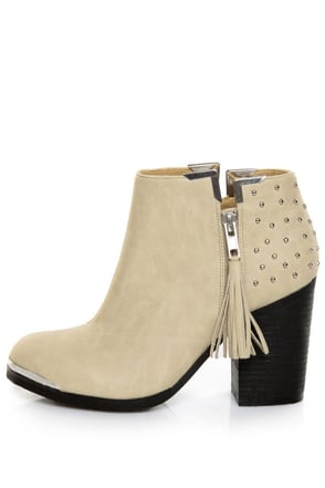 MTNG Fullu Off White Studded Ankle Boots
