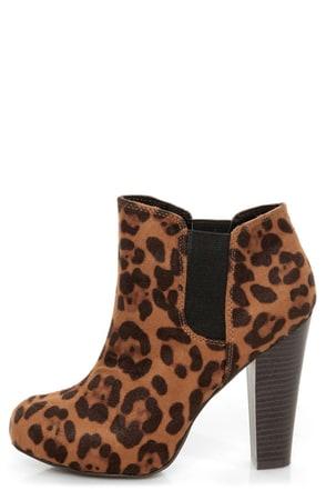 Madden Girl Zelouss Leopard Print High Heel Ankle Boots
