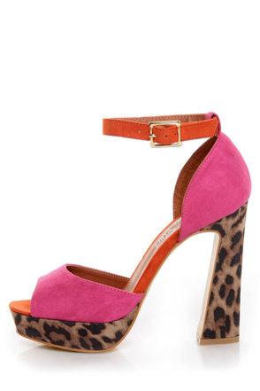 Madeline Girl Teddy Fuchsia & Leopard Print Color Block Heels