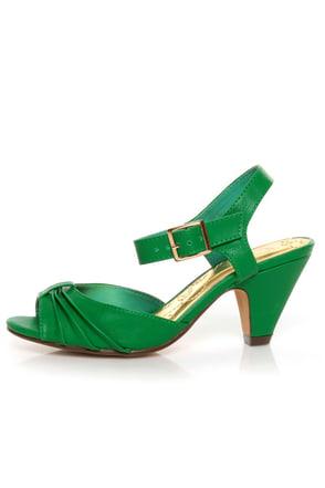 Green Kitten Heels