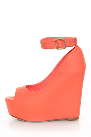 Mona Mia Yurian Coral Textured Peep Toe Platform Wedges