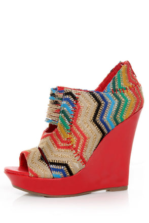 Mona Mia Lori Red Multi Rainbow Peekaboo Peep Toe Wedges