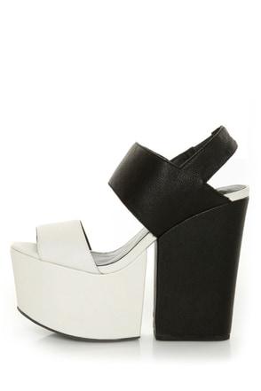 Amazee Black and White Platform Wedge-Meets-Heels