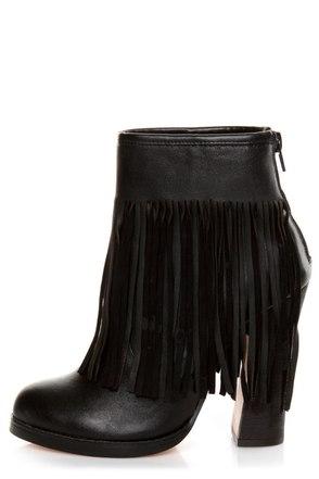 N.Y.L.A. Gravano Black Leather Fringe Booties
