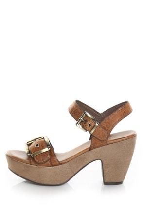 Nicole Blare Butterscotch Buckles Chunky Heel Sandals