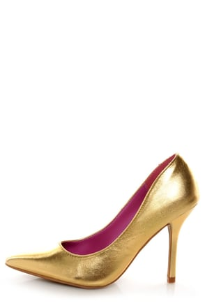Promise Ivana Gold Metallic Pointed Pumps