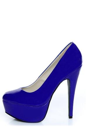 Qupid Penelope 01 Royal Blue Patent Platform Pumps