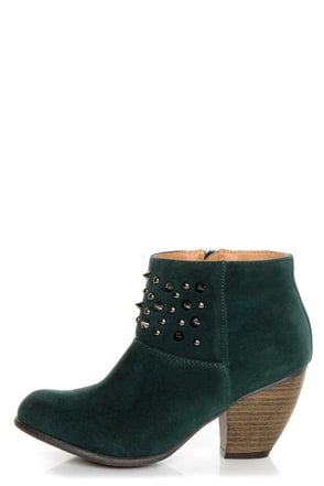 Qupid Priority 46 Green Velvet Spiked and Studded Ankle Boots