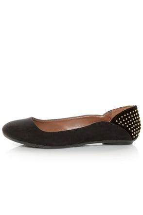 Qupid Savana 156 Black Suede Studded Ballet Flats