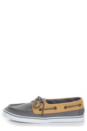 Qupid Trivia 14 Grey Twill Color Block Boat Shoes