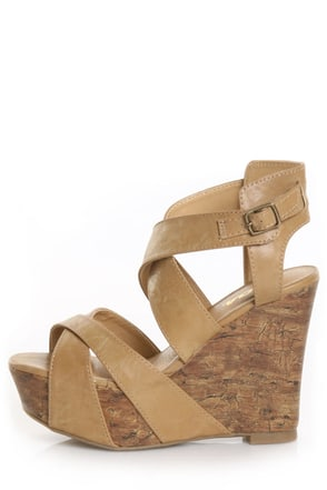 Soda Effect Lt Tan Strapped-In Mega Platform Wedges