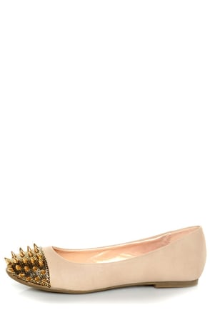 Shoe Republic LA Scion Nude Spiked Cap-Toe Flats