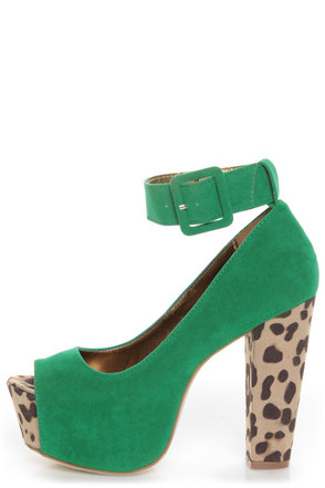 Shoe Republic LA Vicenza Green and Leopard Platform Heels