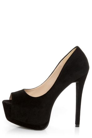 Speed Limit 98 Giant Black Peep Toe Platform Pumps