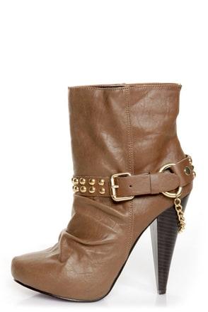 Maquis 02 Chestnut Brown Heel Harness High Heel Boots