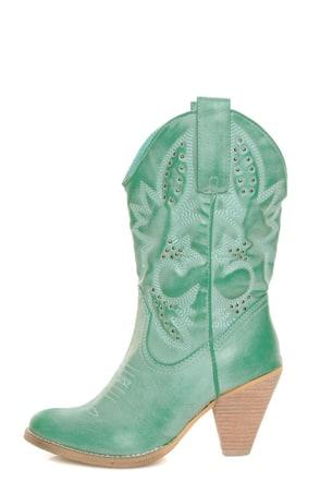 Very Volatile Denver Aqua Blue Embroidered Cowboy Boots