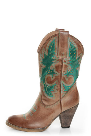 Very Volatile Rio Grande Tan & Teal Embroidered Cowboy Boots
