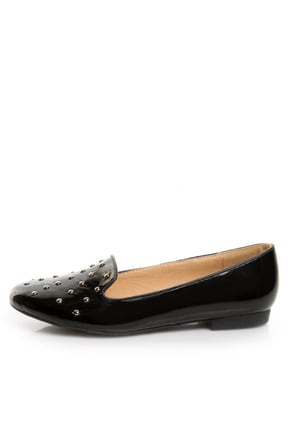 Wanted Explode Black Patent Studded Smoking Slipper Flats