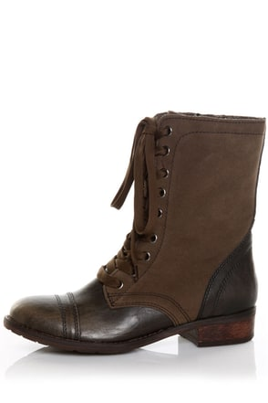 Wanted Forge Khaki Brown Two Tone Lace Up Ankle Boots