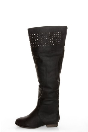 Yoki Giada Black Studded Over-the-Knee Boots