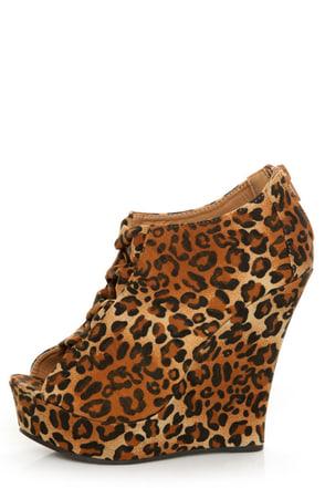 Yoki Miriam Leopard Cutout Peep Toe Shootie Wedges