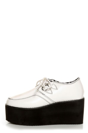Y.R.U. Kreep White Lace-Up Creeper Platforms