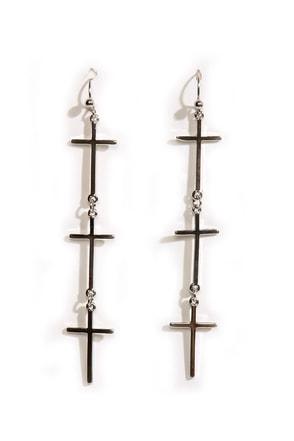 Vampire-Proof Silver Cross Earrings
