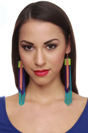 Claire Fong Maui Skies Fringe Leather Earrings