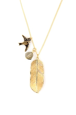 Lift Off Gold Feather Necklace