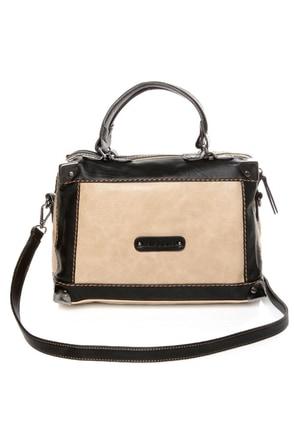 Melie Bianco Helena Black and Beige Handbag